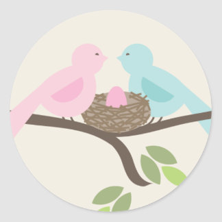 Mommy & Daddy Birds & Pink Egg Baby Shower Classic Round Sticker