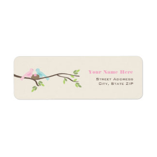 Mommy & Daddy Birds Pink Egg Baby Shower Label