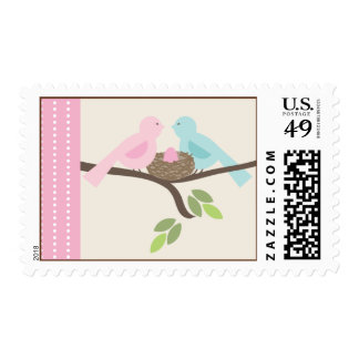 Mommy & Daddy Birds Pink Egg Baby Shower Postage