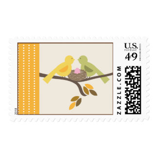 Mommy & Daddy Birds Pink Egg Fall Baby Shower Postage