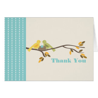 Mommy & Daddy Birds w Egg Blue Fall Thank You Card