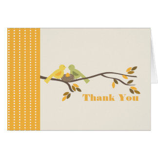 Mommy & Daddy Birds With Nest Fall Thank You Card