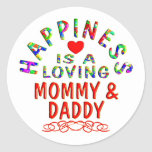 Mommy & Daddy Happiness Round Stickers