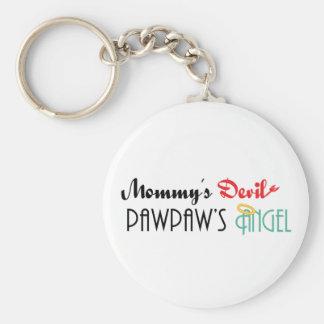 Mommy' diablo de s, PawPaw' ángel de s Llavero Personalizado