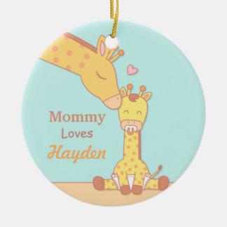 Mommy Giraffe and Calf Cute Personalized Ornament