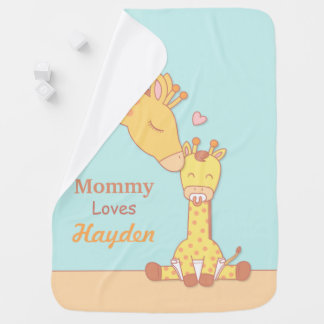 Mommy Giraffe and Calf Personalized Baby Blanket
