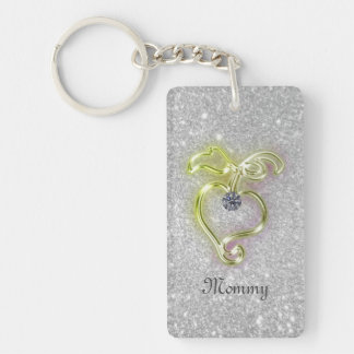 Mommy Golden Heart with Diamond and Sparkles Keychain
