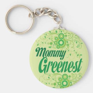 Mommy Greenest Basic Round Button Keychain