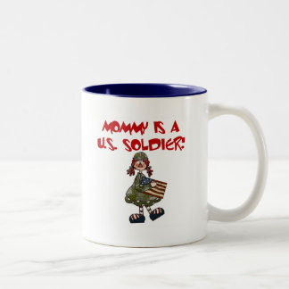 Mommy is a U.S. Soldier T-shirts and Gifts Two-Tone Coffee Mug
