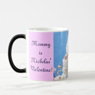 Mommy is child's Valentine mugs Pink Blossoms Love