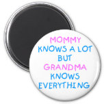 Mommy knows a lot but Grandma know everything Refrigerator Magnets