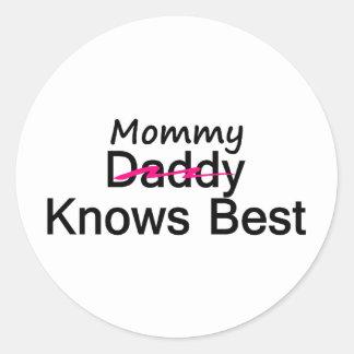 Mommy Knows Best Classic Round Sticker