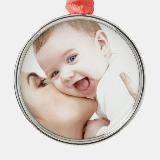 mommy loves baby metal ornament