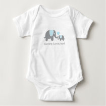 Mommy Loves Me Elephants in Blue and Gray Baby Bodysuit
