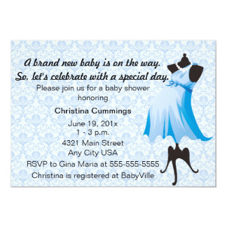 Mommy Mannequin Baby Shower Invitation (Blue)