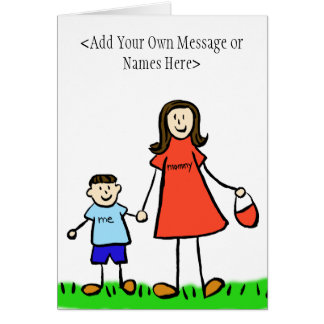 Mommy & Me Brunette - Customize Greeting Card