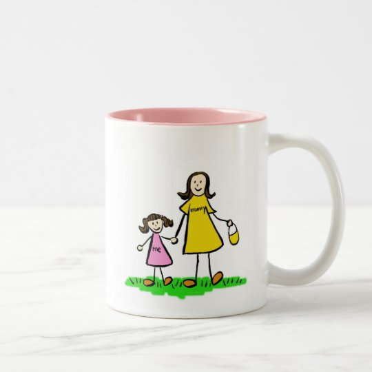 Mommy & Me (Brunette with No Title) Two-Tone Coffee Mug