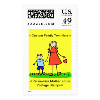 Mommy & Me - Mother and Son Postage Stamps