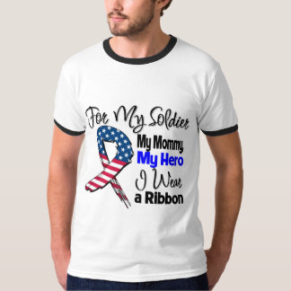 Mommy - My Soldier, My Hero Patriotic Ribbon T-Shirt