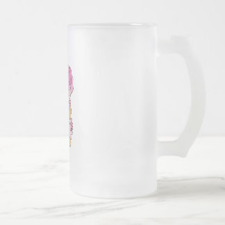 Mommy N Baby Bear in Stroller Frosted Glass Beer Mug