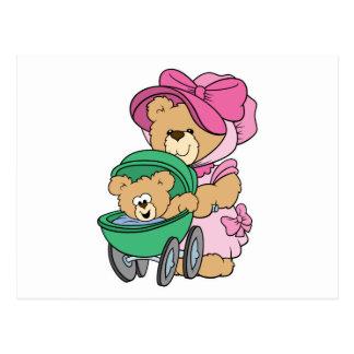 Mommy N Baby Bear in Stroller Postcard