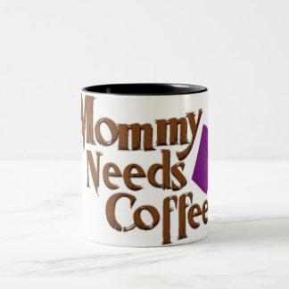 mommy-needs-coffee-logo Two-Tone coffee mug