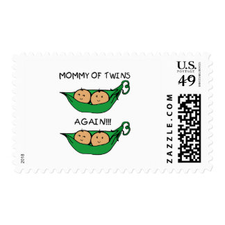 Mommy of Twin Again Pod Postage Stamp