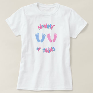 Mommy of Twin Babies Footprints T-Shirt