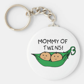 Mommy of Twin Pod Basic Round Button Keychain