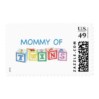 Mommy of Twins Blocks Postage Stamps