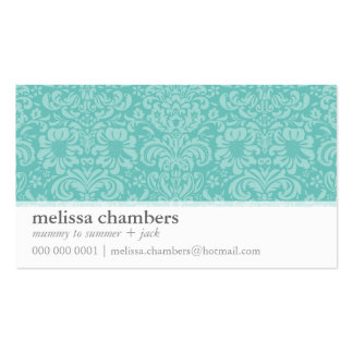 MOMMY PLAYDATE CONTACT cute modern damask mint Business Card