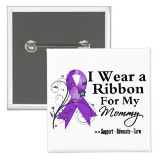 Mommy Purple Ribbon - Pancreatic Cancer Pinback Button