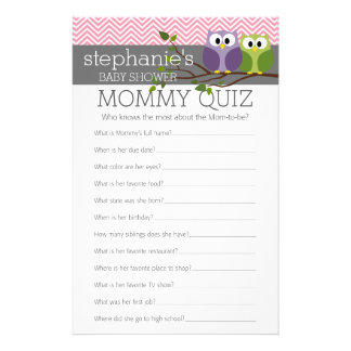 Mommy Quiz Shower Games Pink Owls Baby Girl Flyer
