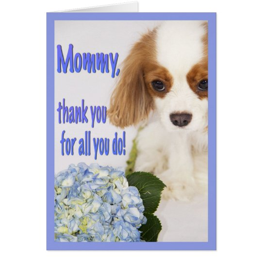 Mommy Thank You Card Cavalier King Charles Spaniel