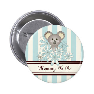 Mommy-to-be Baby Shower Cute Animal Paste Blue Pinback Button
