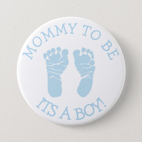 Mommy to be Blue and White Baby Shower Button