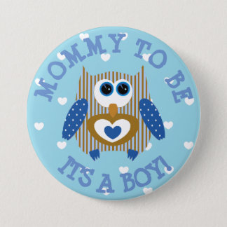 Mommy to be blue Owl hearts Baby Shower Button