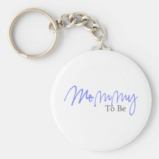 Mommy To Be (Blue Script) Basic Round Button Keychain
