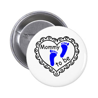 Mommy To Be Boy Blue Footprints Heart 2 Inch Round Button
