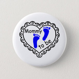 Mommy To Be Boy Blue Footprints Heart Button