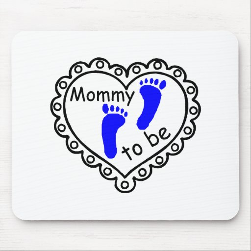 Mommy To Be Boy Blue Footprints Heart Mousepads