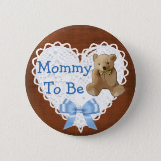 Mommy to be Brown & Blue Lacy Baby Shower Button