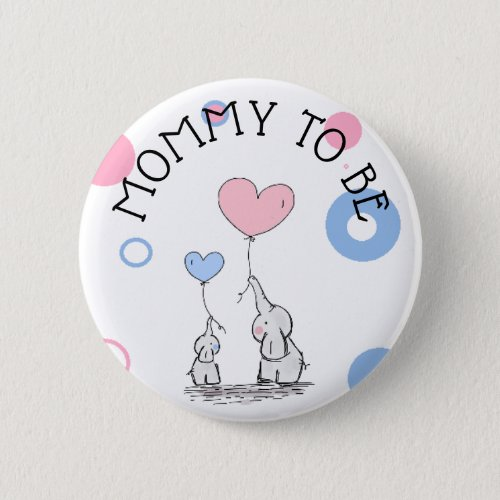 Mommy To Be Elephant Baby Shower Button