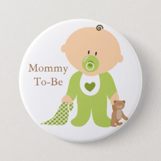 Mommy To Be Green Baby Button