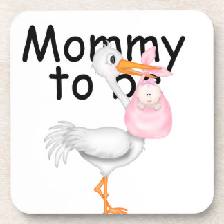 mommy to be Maternity Stork Drink Coaster