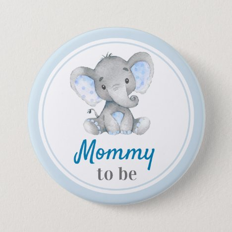 Mommy to be New Mom Baby Boy Shower Elephant Blue Button