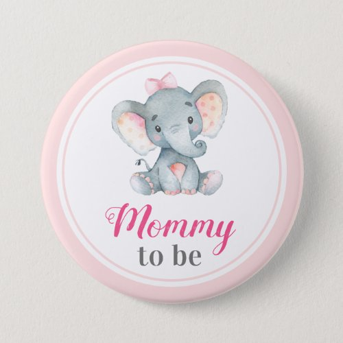 Mommy to be New Mother Baby Girl Shower Elephant Button