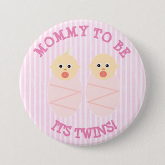 Mommy to be of twin girls, baby shower button pink