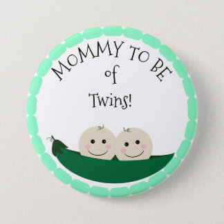 Mommy to be of Twins in Peapod Baby Shower button