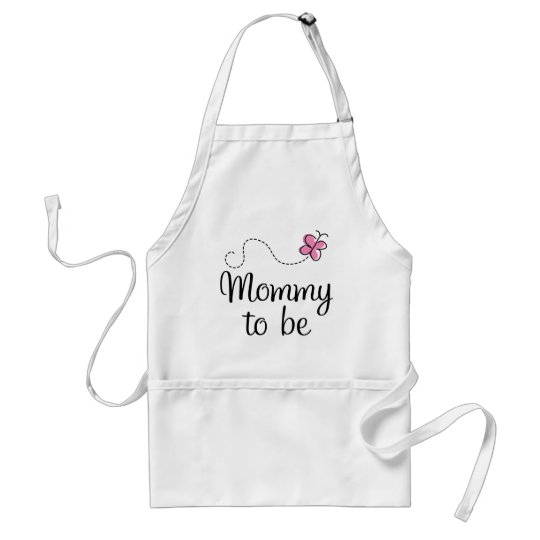 Mommy To Be Pink Butterfly Gift Adult Apron